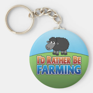 I d Rather be Farming Virtual Farming Keychain