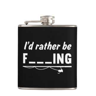 I'd Rather Be Fishing Fill in the Blanks Hip Flask