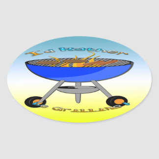 I d Rather Be Grilling Oval Sticker