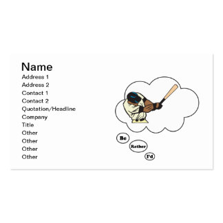 I d rather be playing Baseball 2 Business Card Template