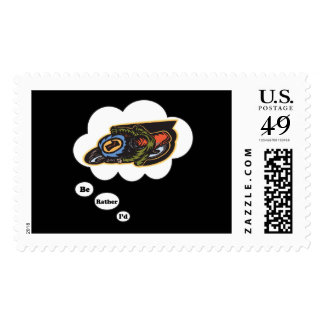 I d rather be Racing 3 Postage Stamps