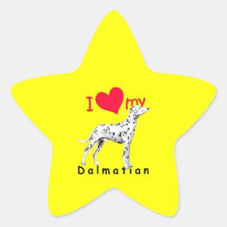 I Dalmatian del corazón Calcomanía Cuadrada