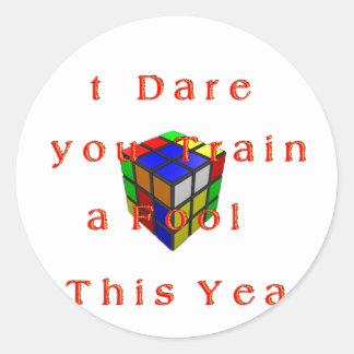 I dare you Train a fool t his year Hakuna Matata 2 Classic Round Sticker