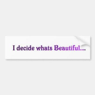 I decide whats beautiful.... car bumper sticker
