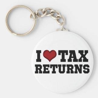 I declaraciones de impuestos del corazón llavero redondo tipo pin