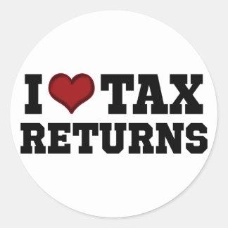 I declaraciones de impuestos del corazón pegatina redonda