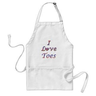 I dedos del pie del corazón (amor) delantales