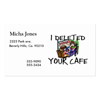 I Deleted Your Cafe Business Card