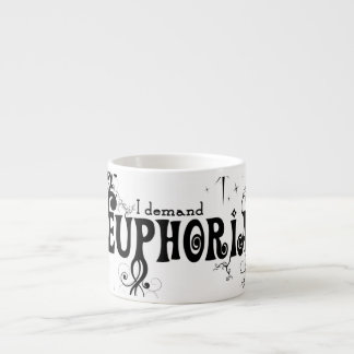 I Demand Euphoria - Black Swirls, Stars, Fireworks Espresso Cup
