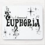 I Demand Euphoria - Black Swirls, Stars, Fireworks Mouse Pad
