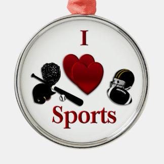I deportes del corazón adorno navideño redondo de metal