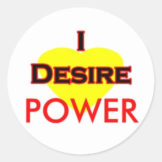 I Desire Black-Red POWER Classic Round Sticker
