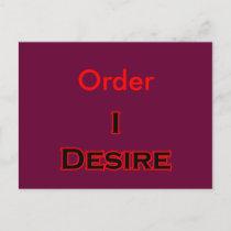 I Desire Order postcards