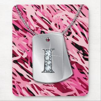 """I"" Diamond Bling, Dog Tags & Camo Mousepad"