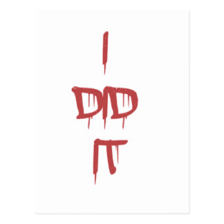 I did it - bloody letters postcard