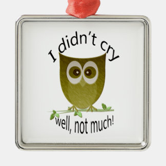 I didn't cry, well, not much! cute Owl art Silver-Colored Square Decoration