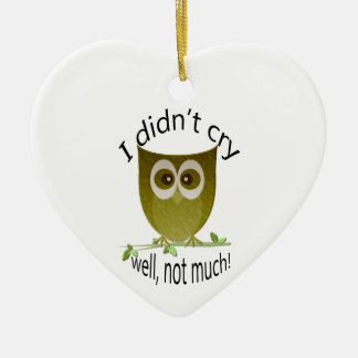 I didn't cry, well, not much! cute Owl art Ceramic Heart Decoration