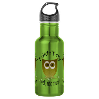 I didn't cry, well, not much! cute Owl art Water Bottle