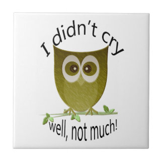 I didn't cry, well not much! Funny Owl art Ceramic Tile