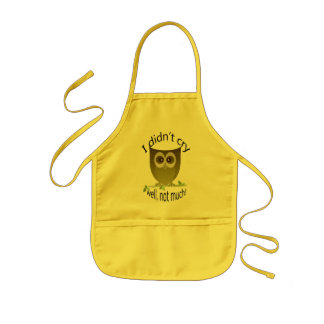 I didn't cry, well not much! Funny Owl art Kids' Apron
