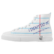 """""""I DIDN'T DO IT"""" Custom Notebook Paper Graphic High-Top Sneakers"""