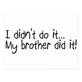 I Did'nt Do It My Brother Did It Postcard