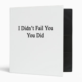 I Didn't Fail You You Did 3 Ring Binder