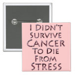 I Didn't Survive Cancer To Die Pink Stress Pinback Buttons