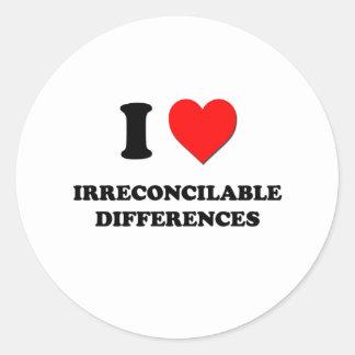 I diferencias irreconciliables del corazón etiqueta redonda