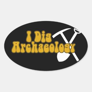 I Dig Archaeology Oval Sticker
