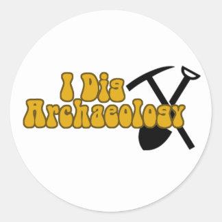 I Dig Archaeology Round Sticker