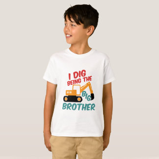 I Dig Being Big Brother Excavator Tractor Cartoon T-Shirt