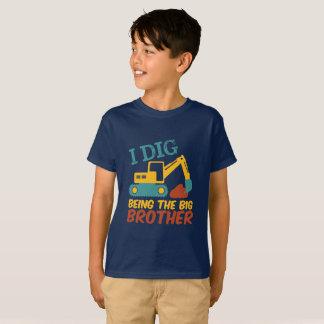 I Dig Being Big Brother Tractor Excavator Cartoon T-Shirt