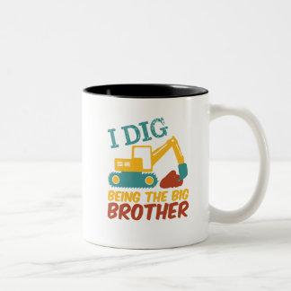 I Dig Being Big Brother Tractor Excavator Cartoon Two-Tone Coffee Mug