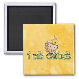 i dig chicks 2 inch square magnet