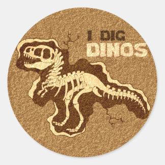 I Dig Dinos Classic Round Sticker