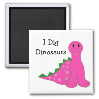I Dig Dinosaurs 2 Inch Square Magnet