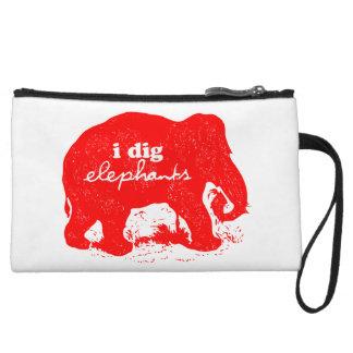 """""""I Dig Elephants"""" Designer's Clutch Wristlet Purse"""