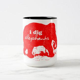 """I Dig Elephants"" Designer's Mug"