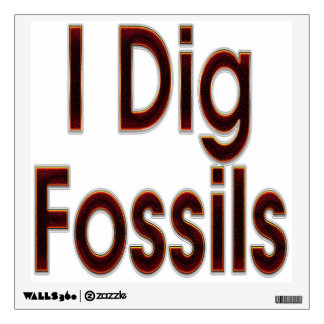 I Dig Fossils Red Wall Decal