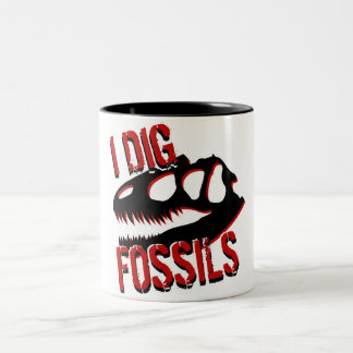 I DIG FOSSILS Skull Two-Tone Coffee Mug