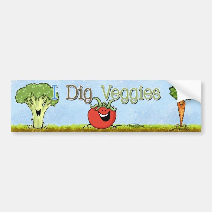 I Dig Veggies - Broccoli Cartoon - bumper sticker