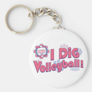 I Dig Volleyball by Mudge Studios Basic Round Button Keychain