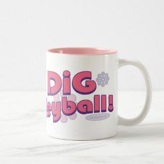 I Dig Volleyball by Mudge Studios Two-Tone Coffee Mug