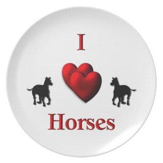 I diseño de los caballos del corazón plato