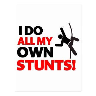 I do all my own stunts funny postcard