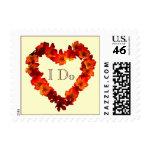 I Do Autumn Heart Wedding Postage Stamp stamp