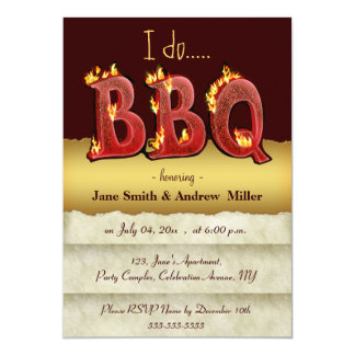 """I do barbecue party invitations 5"""" x 7"""" invitation card"""