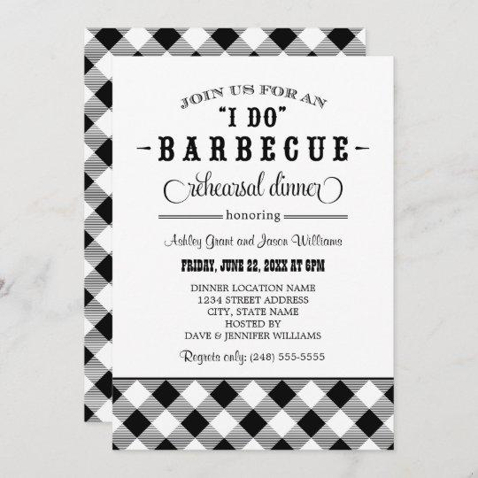 I Do BBQ Black Gingham Wedding Rehearsal Dinner Invitation