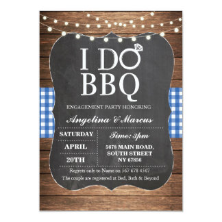 I DO BBQ Blue Couple's Shower Chalk Invitation